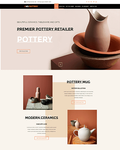 WS Pottery – Responsive Furniture WordPress theme