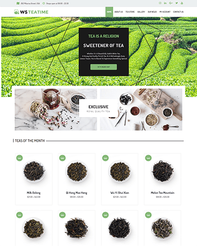 WS TeaTime – Responsive Tea Shop WooCommerce WordPress theme