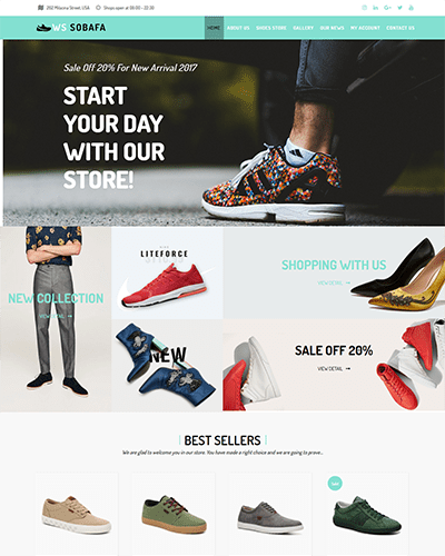 WS Sobafa – Responsive Shoes Store WooCommerce WordPress theme