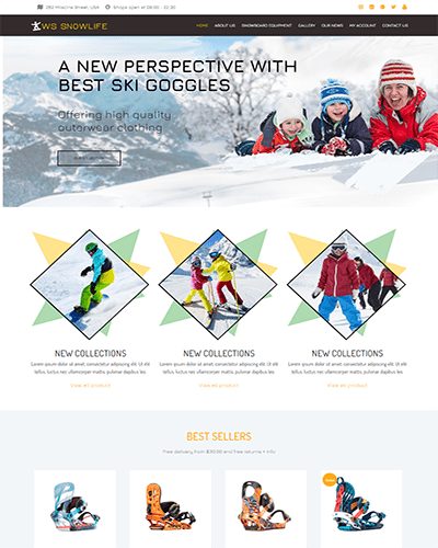 WS Snowlife – Responsive Snowboarding Clothing Stores WooCommerce WordPress theme