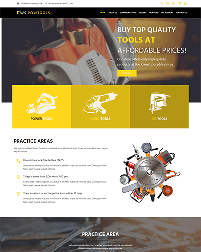 WS PowTools – Responsive Tools and Equipment Store WooCommerce WordPress theme