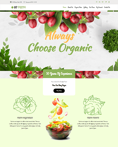 WS Fresh – Responsive Agriculture Store WooCommerce WordPress theme