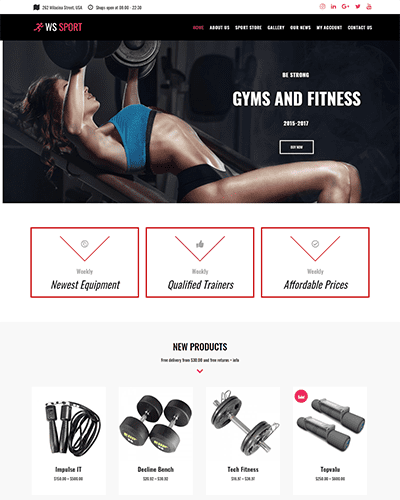WS Sport – Responsive Fitness Equipment WooCommerce WordPress theme
