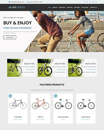 WS Bikes – Responsive Bike Shop Woocommerce WordPress theme