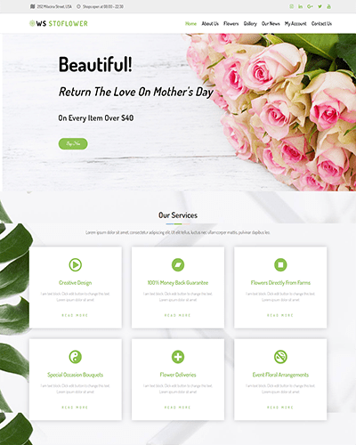 WS Stoflower – Responsive Flowers WooCommerce WordPress theme
