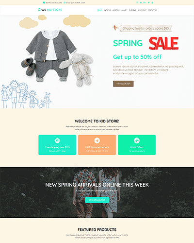 WS Kid – Responsive Kids Clothes WooCommerce WordPress theme