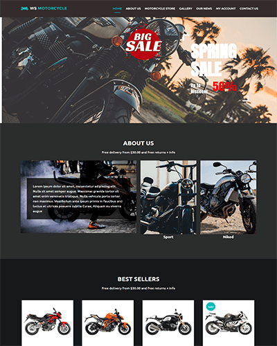 WS Motorcycle – Responsive MotorBike Store WooCommerce WordPress theme