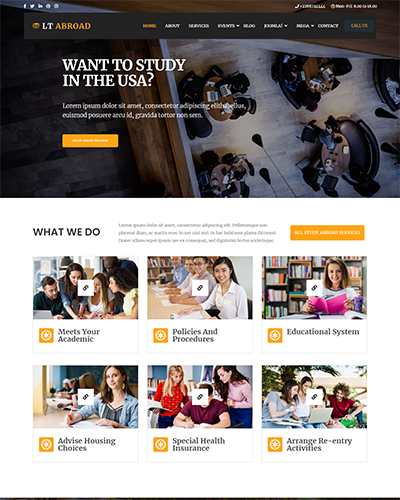 LT Abroad Onepage – Free Single Page Joomla Education template