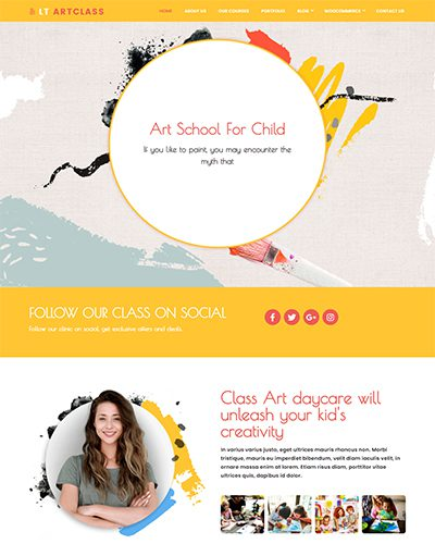 LT ArtClass Single Page – Free One page Painter WordPress theme