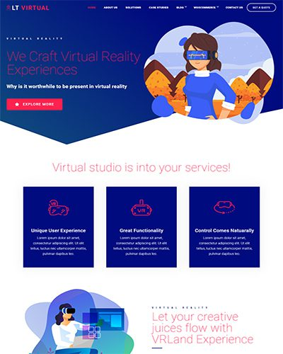 LT Virtual Single Page – Free One page virtual reality wordpress theme