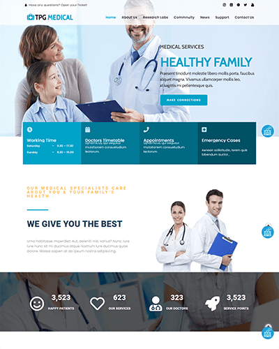 TPG Medical – Responsive Medical WordPress theme