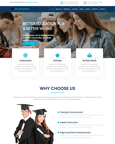 TPG University – Responsive Education WordPress theme