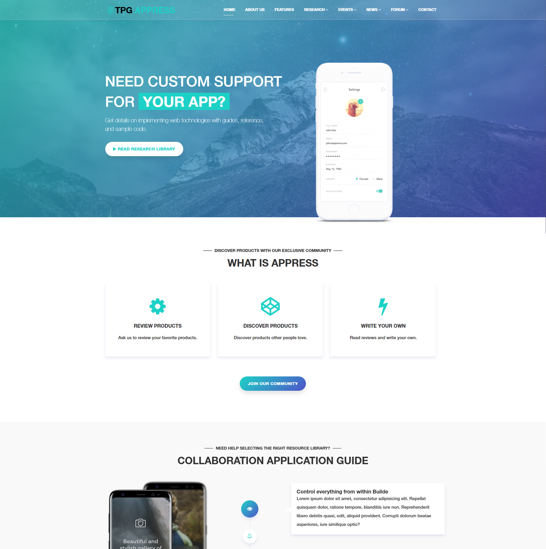 TPG Appress – Free Responsive WordPress App theme