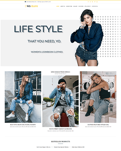 WS Jeans – Free Responsive Clothing wordpress theme