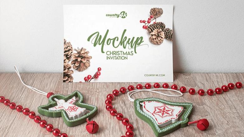 Christmas Invitation Card Free PSD MockUp