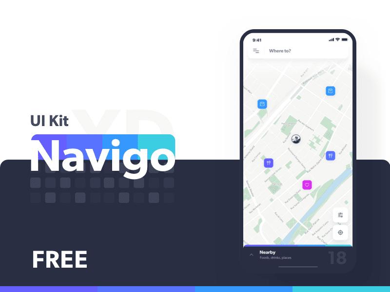 Free Navigation App UI Kit