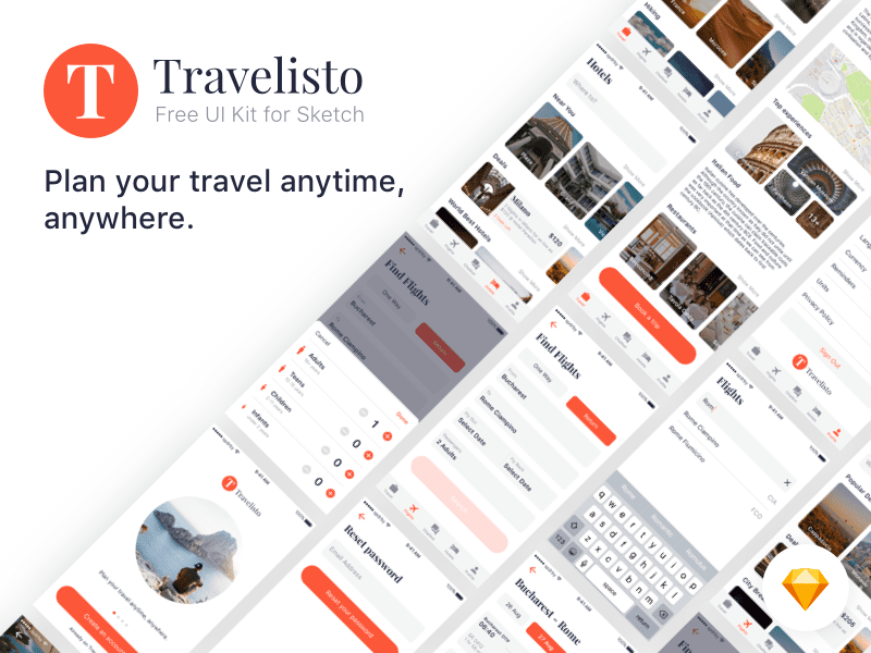 Free Travel UI Kit For Sketch