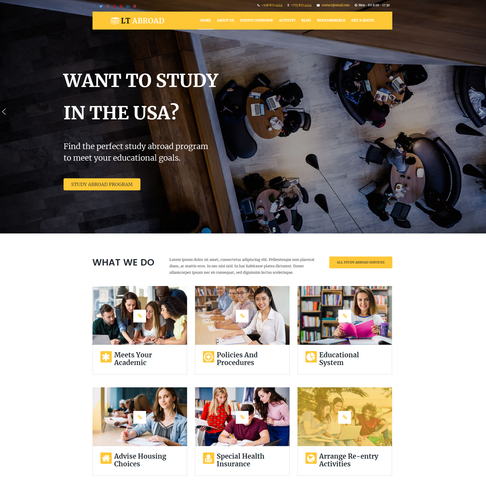 Lt Abroad Free Responsive WordPress Theme Screen