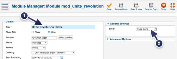 set up the Unite Revolution Slider extension