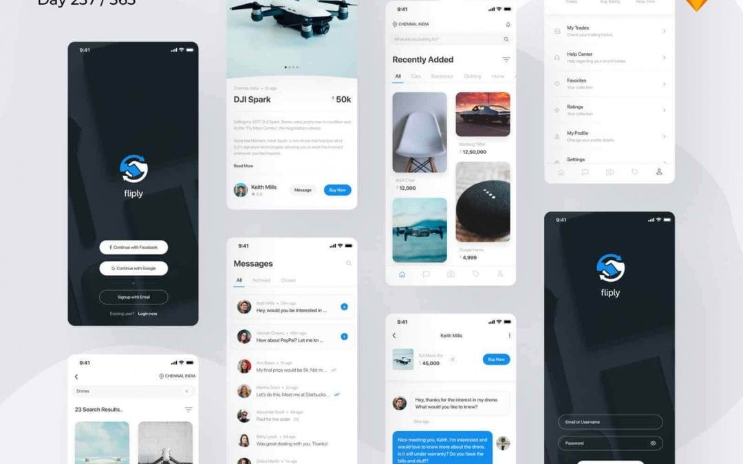 Free Marketplace App Design In PSD