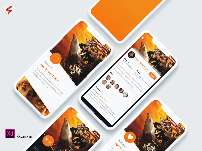 Free Ticket Booking App PSD Design