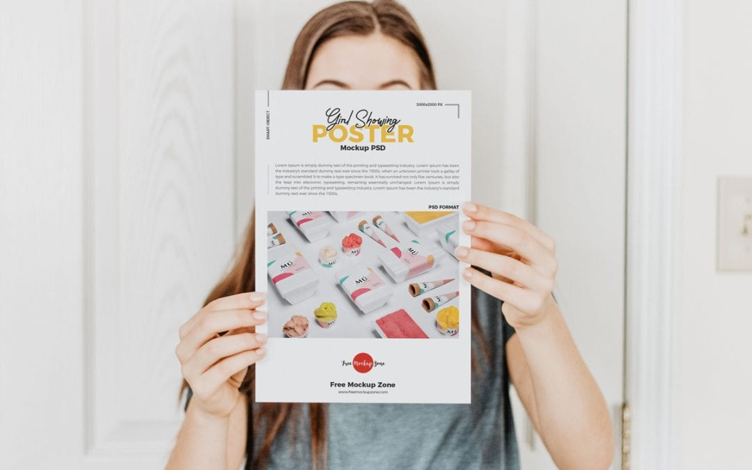 Girl Showing Poster Mockup PSD Template