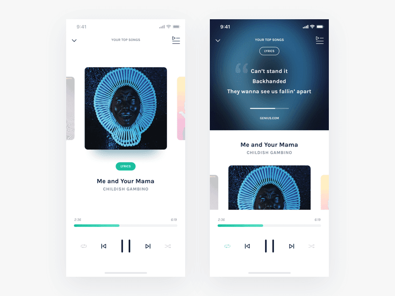 Mobile Music Player App Screens Design In PSD