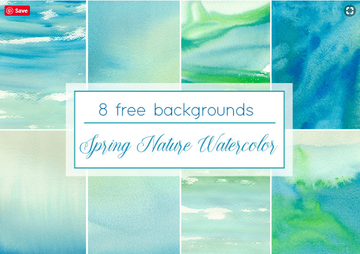 Set Of 8 Free Spring Watercolor