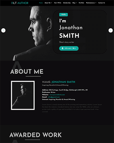 LT Author Onepage – Free Single Page Writer Joomla Template