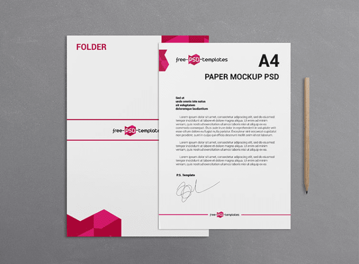 A4 Paper PSD MockUp Template