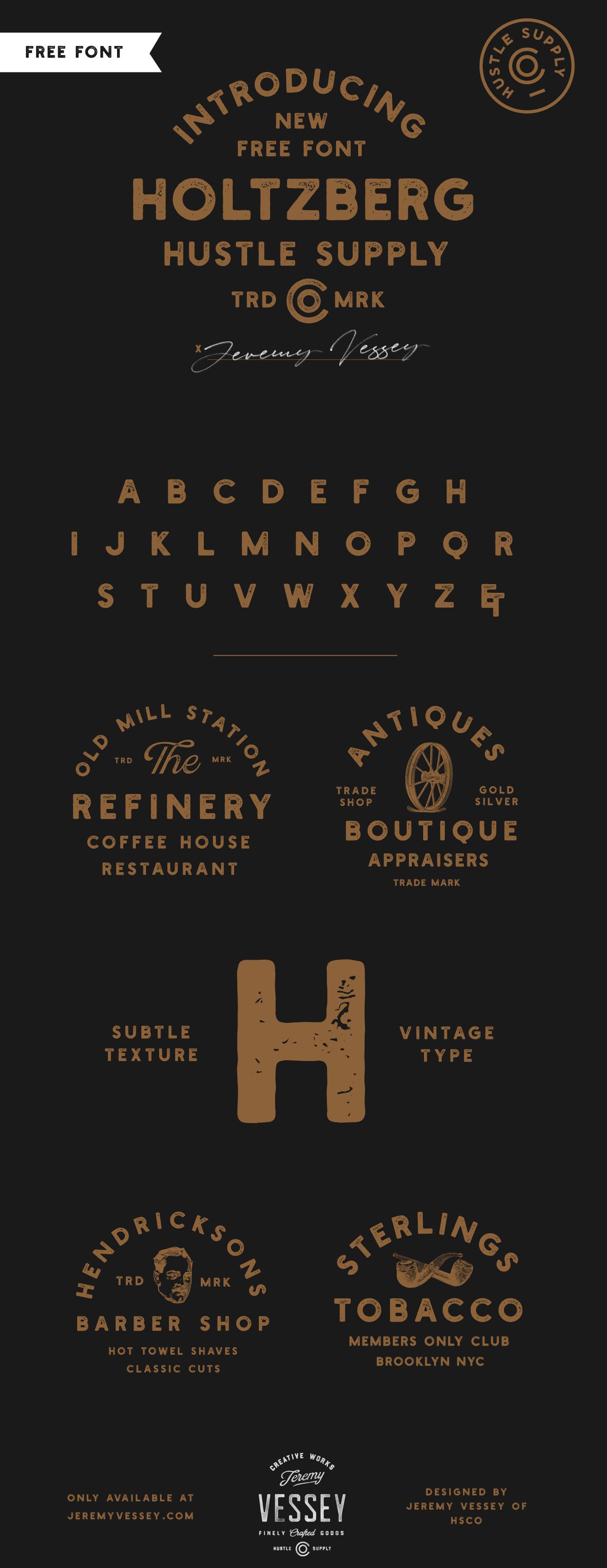 Holtzberg Free Vintage Display Fonts