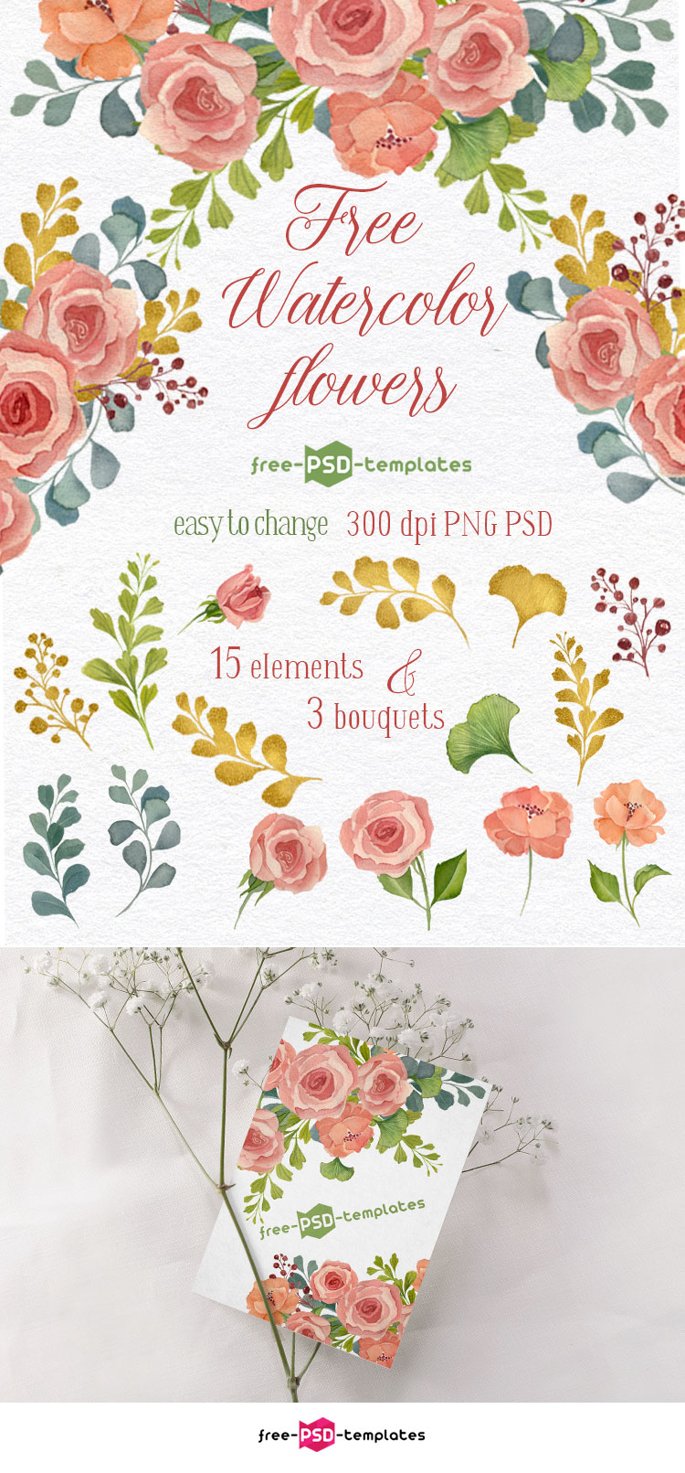 Set Of 15 Free Watercolor Flowers Elements