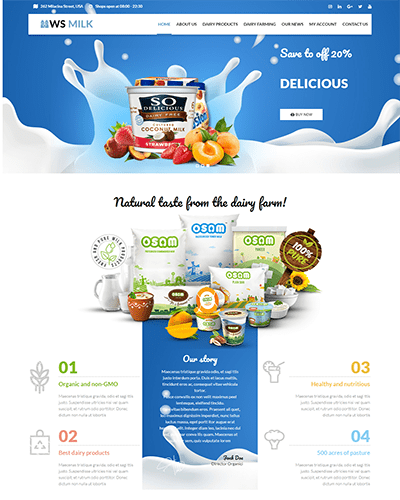 WS Milk – Best Free Dairy Farm WordPress Theme