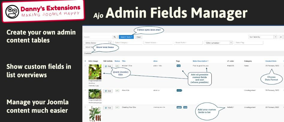 Ajo Admin Fields manager