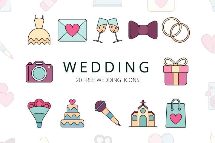 Set Of 20 Free Wedding Icons