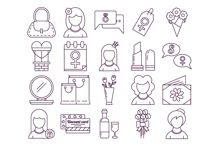 Set Of 8 March International Women's Day Icon
