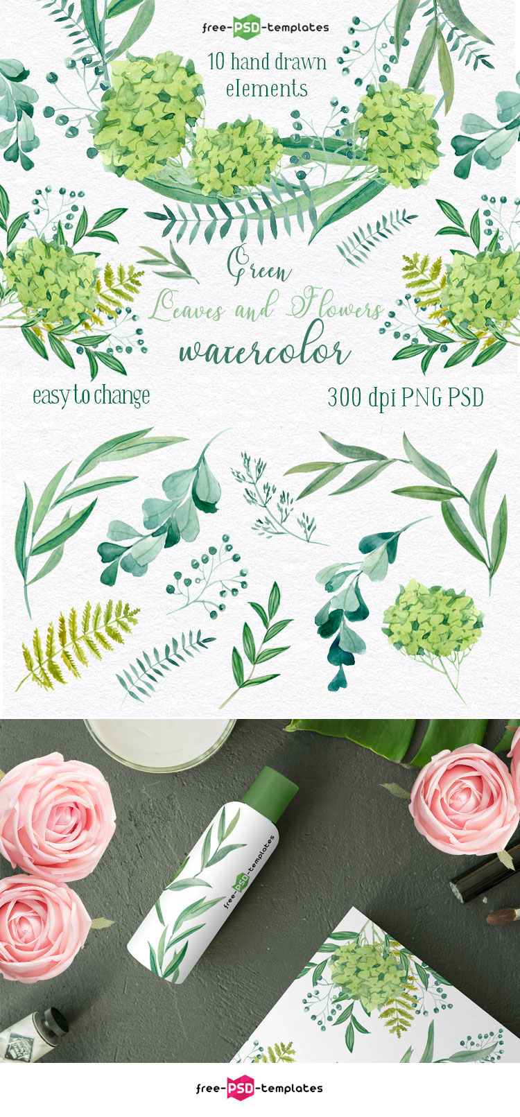 Set Of Free Beautiful Green Leaves Watercolor