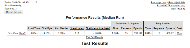 WebPagetest Test Data 2