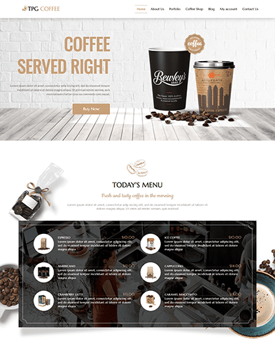TPG Coffee – Responsive Beverage Website template
