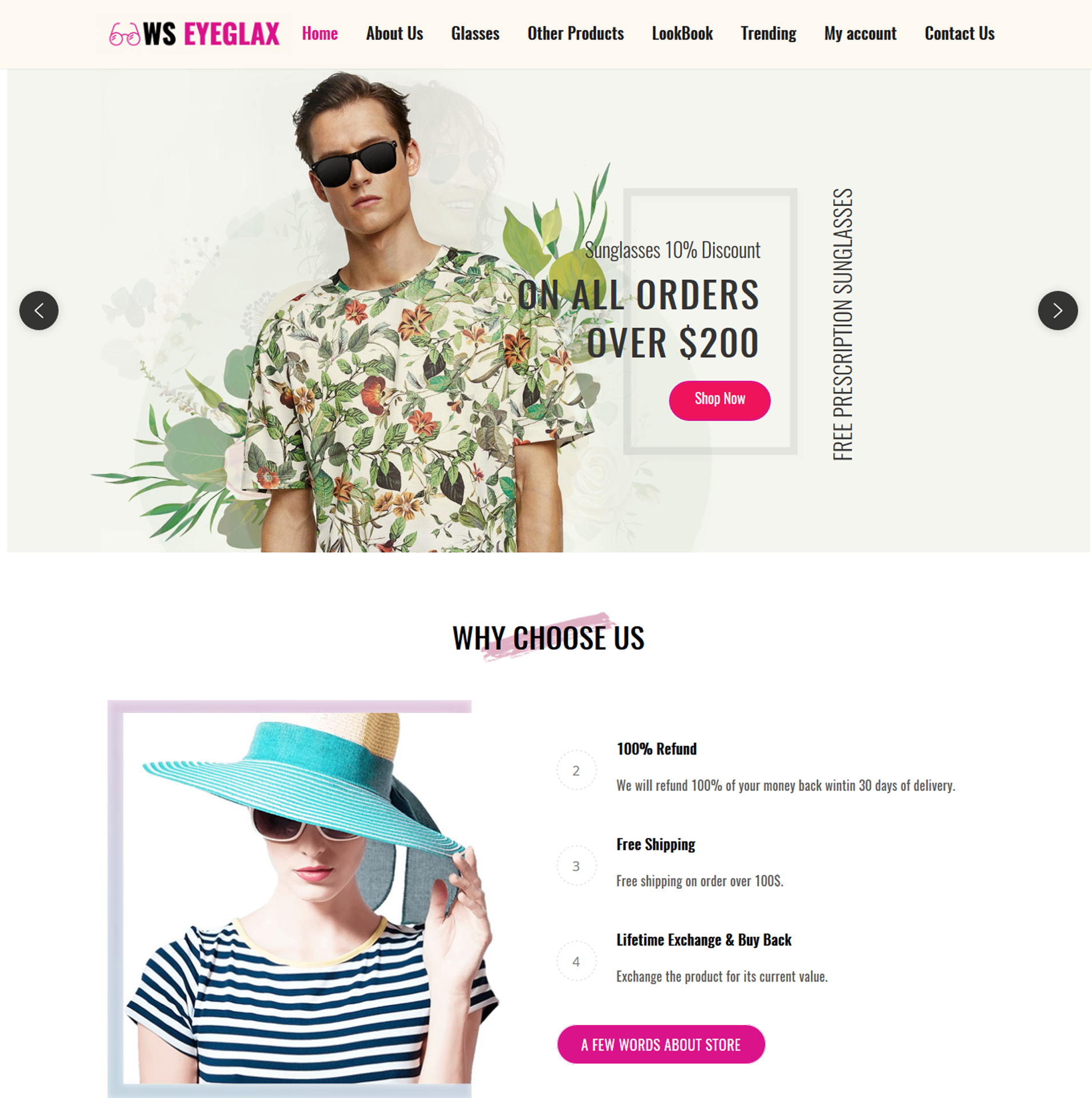 WS EyeGlax – Fashion & Accessories WordPress theme