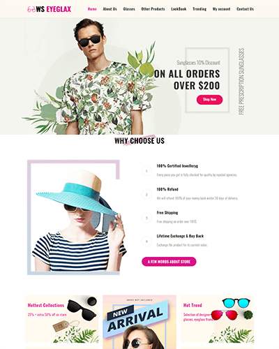 WS EyeGlax – Free Fashion & Accessories WordPress theme
