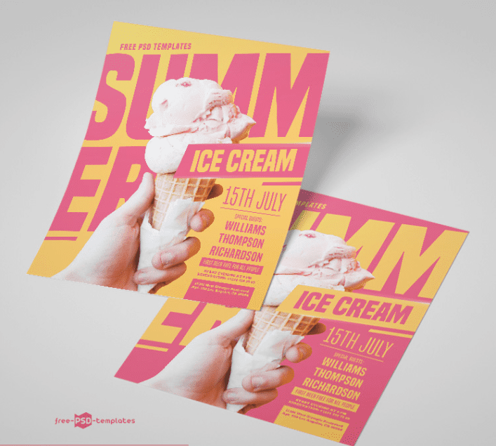 Free Summer Ice Cream PSD Flyer