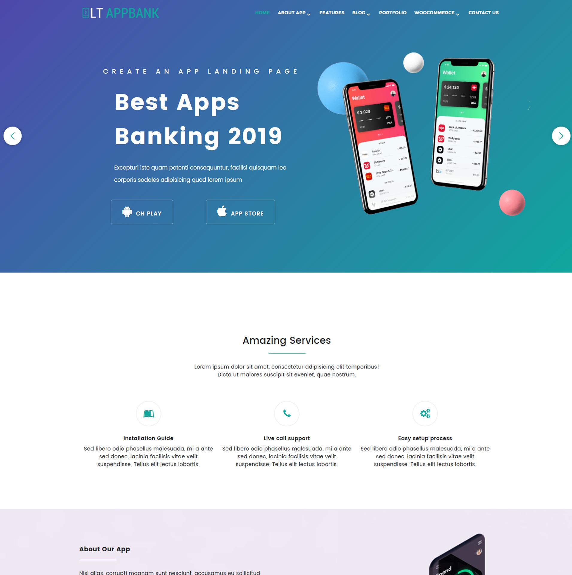 Free App Website lt appbank – modern design app wordpress theme