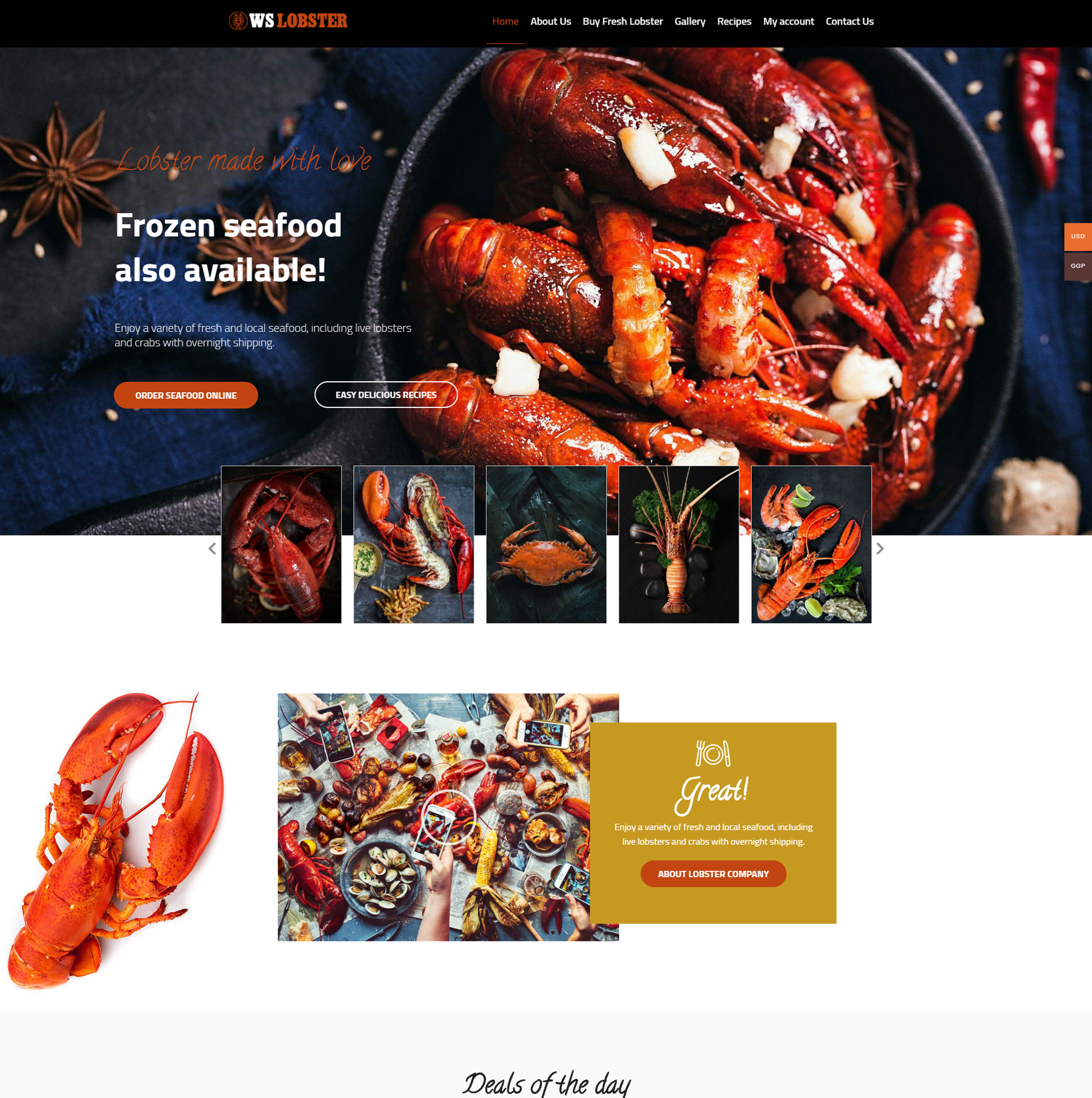 WS Lobster - Restaurant WordPress theme