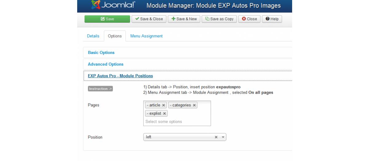 EXP Module Positions