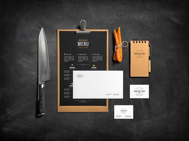 Free Stationery Food Mockup