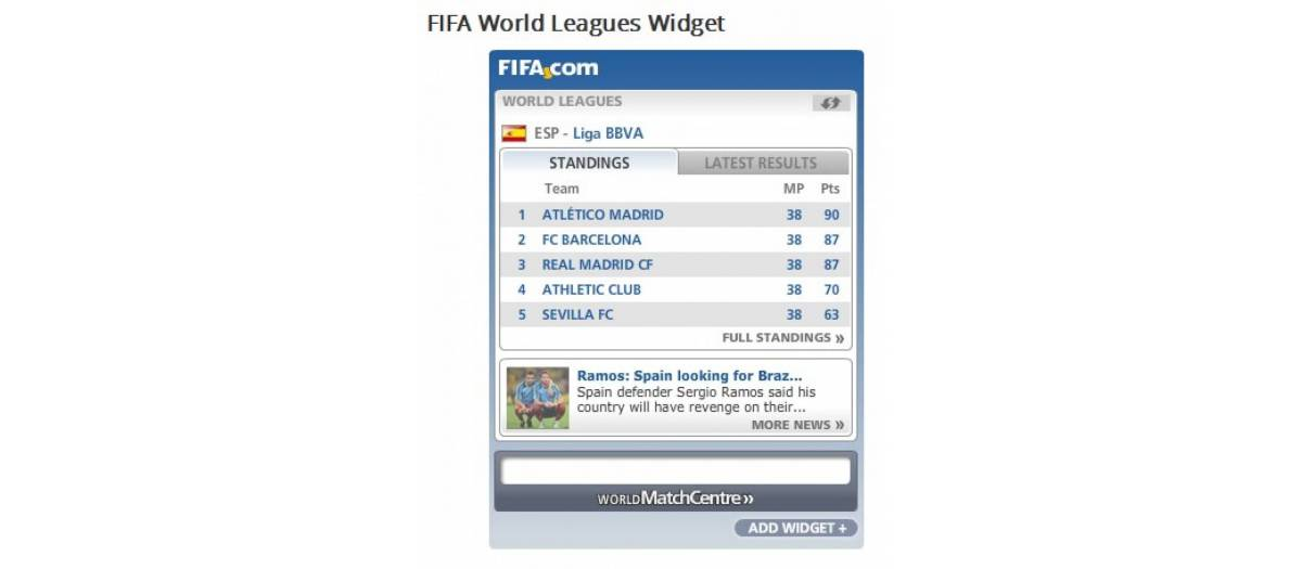 FIFA World Leagues Widget
