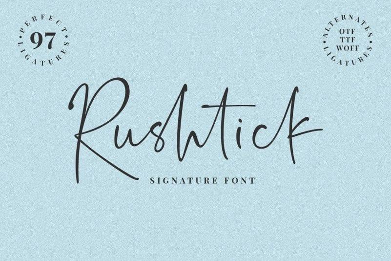Rushtick Free Signature Font