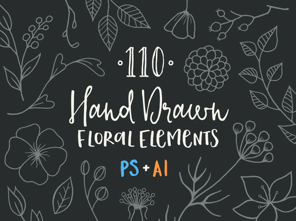 Set of 110 Hand-Drawn Floral Elements