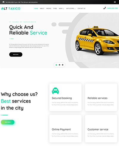 LT Taxico – Premium Taxi booking wordpress theme